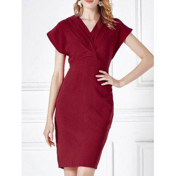 Cap Sleeve Ruched High Waist Sheath Dress