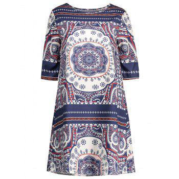 Short  A Line Printed Dress African Print Dresses