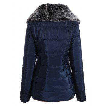 Chic Long Sleeve Turn-Down Neck Pocket Design Women's Padded Coat - CADETBLUE M