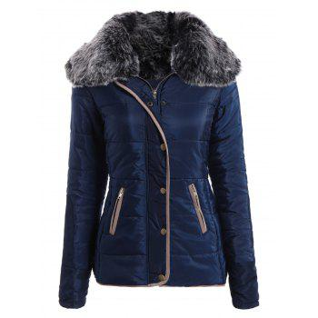 Chic Long Sleeve Turn-Down Neck Pocket Design Women's Padded Coat - CADETBLUE L