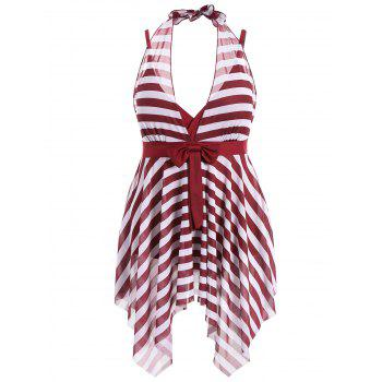 Plus Size Stripe One Piece Skirted Swimsuit - BURGUNDY 6XL