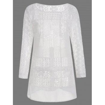 Lace Panel Long Sleeve Tunic Dress