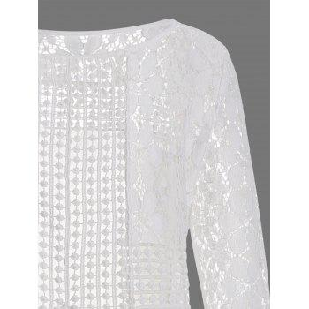 Long Sleeve Lace Mini Tunic Dress - WHITE L