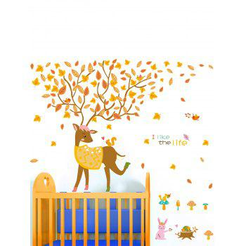 Falling Leaves Little Deer Printed Waterproof Wall Sticker
