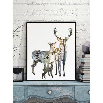 Elk Family Printed Home Decor Wall Art Canvas