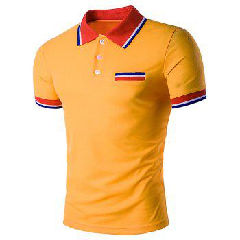 Striped Polo T-Shirt with Fake Pocket - YELLOW YELLOW