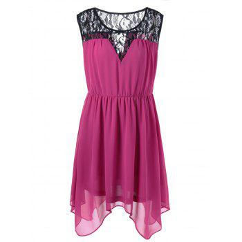 Plus Size Lace Panel Chiffon Handkerchief Dress - PLUM XL