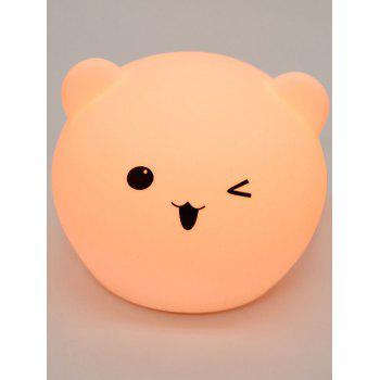Cartoon Bear Shaped Touch Color Changing Night Light - WHITE WHITE