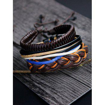 Layered PU Rope Hand Woven Bracelet Set
