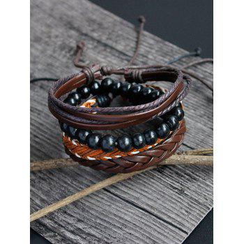 Beaded Faux Leather Woven Boho Bracelet Set