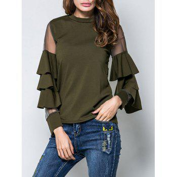 Mesh Insert Layered Ruffle T-Shirt