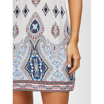 Bohemian Sleeveless Casual Shift Dress - WHITE S