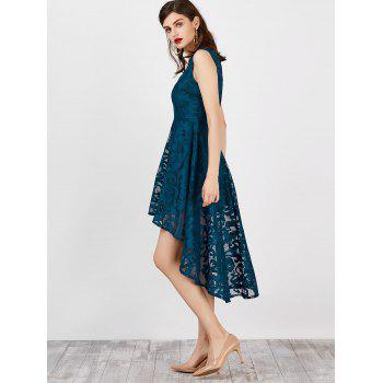 Lace High Low Swing Evening Party Dress - PANTONE TURQUOISE 2XL