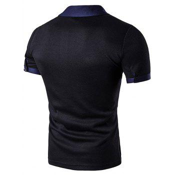 Embellished Fake Pocket Polo T-Shirt - BLACK M