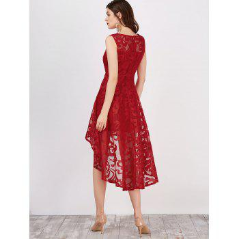 Lace High Low Swing Evening Party Dress - RED L