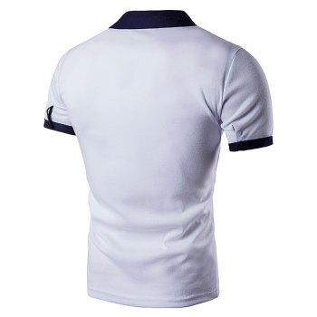 Embellished Fake Pocket Polo T-Shirt - WHITE WHITE