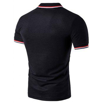 Striped Sleeve Collar Polo T-Shirt - BLACK XL