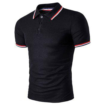 Striped Sleeve Collar Polo T-Shirt - BLACK BLACK