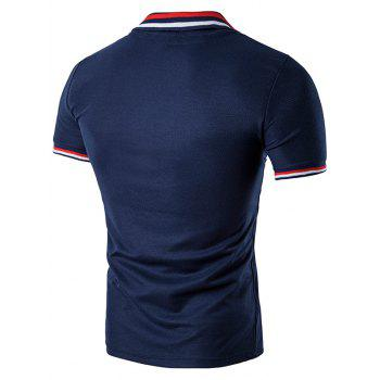 Striped Sleeve Collar Polo T-Shirt - CADETBLUE S