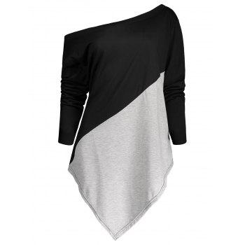 Color Block Asymmetric Plus Size Tee - BLACK AND GREY BLACK/GREY