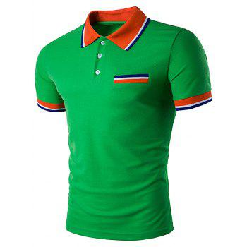 Striped Polo T-Shirt with Fake Pocket - GREEN GREEN