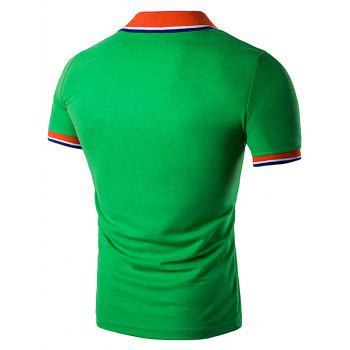 Striped Polo T-Shirt with Fake Pocket - GREEN L