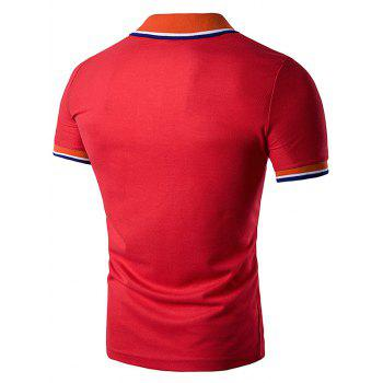 Striped Polo T-Shirt with Fake Pocket - RED RED