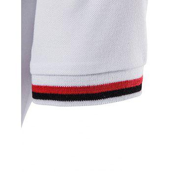 Striped Pocket Embellished Polo T-Shirt - WHITE XL