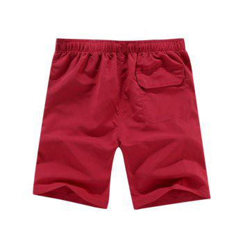 Graphic Drawstring Shorts - WINE RED 4XL