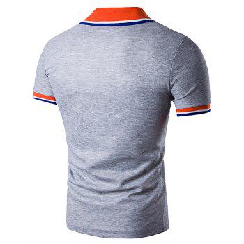 Striped Polo T-Shirt with Fake Pocket - LIGHT GRAY M