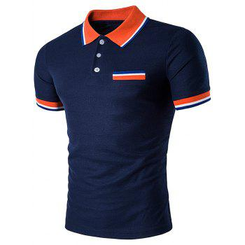 2018 striped polo t shirt with fake pocket cadetblue xl in for Polo t shirts with pocket online