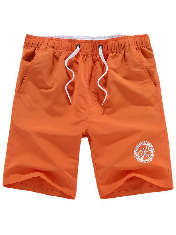 Graphic Drawstring Shorts - ORANGE 2XL
