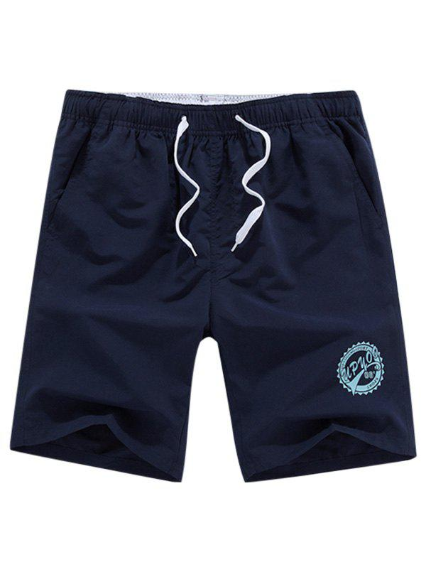 Graphic Drawstring Shorts - CERULEAN 2XL