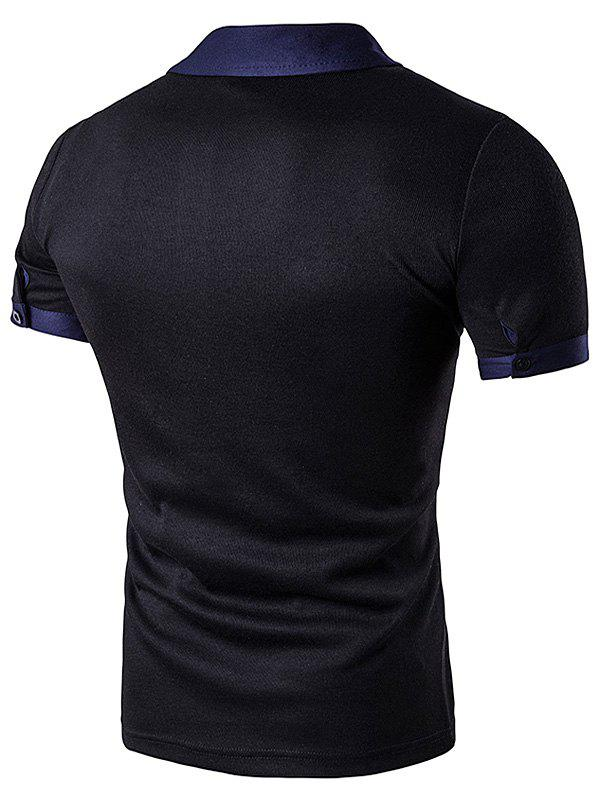 Embellished Fake Pocket Polo T-Shirt - BLACK S