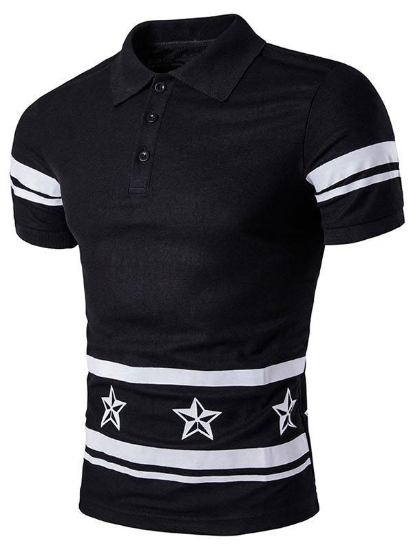 Star Number Printed Polo T-Shirt - BLACK M