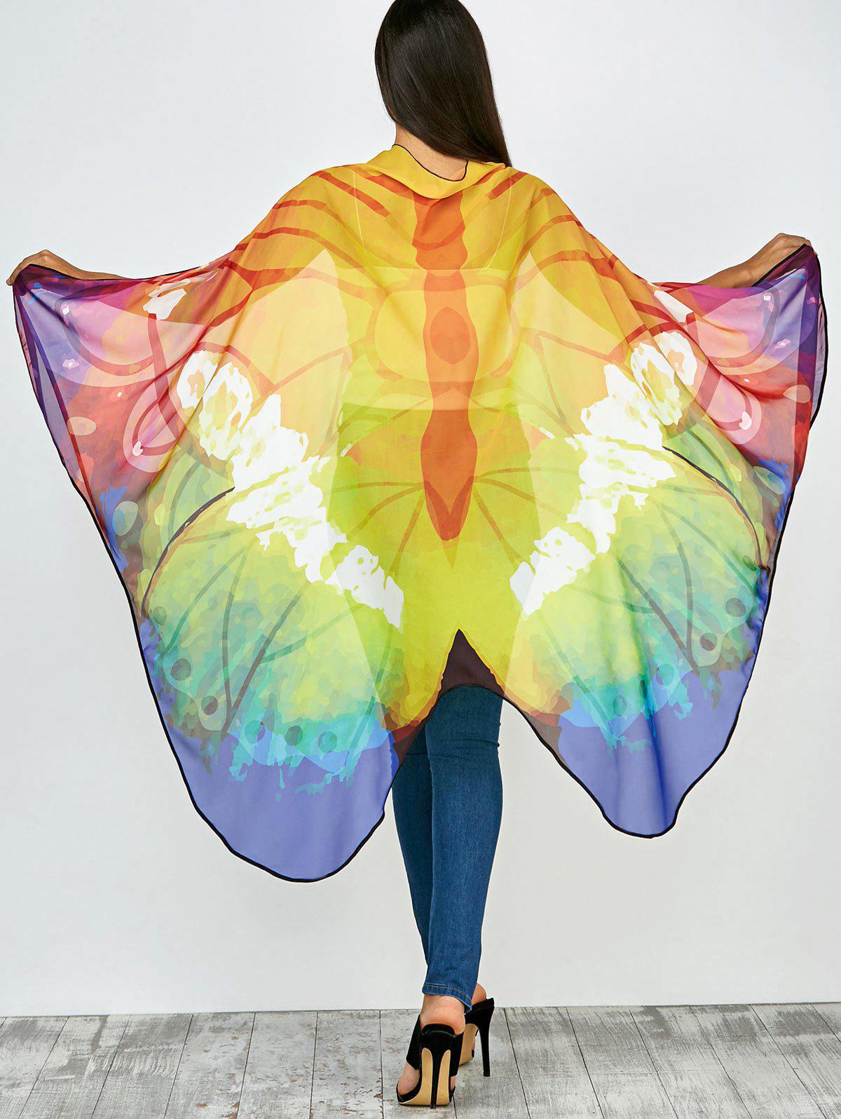 Color Mix Light Butterfly Wing Chiffon Pashmina with Straps butterfly wing chiffon pashmina with straps