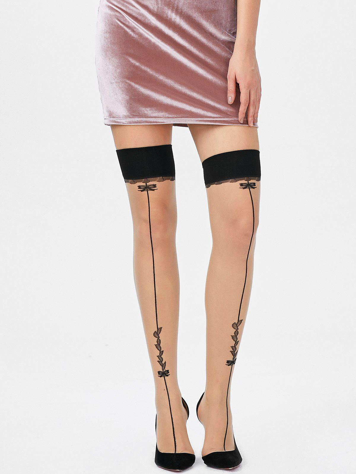 Overknee Leaves Graphic Sheer Tights - BLACK ONE SIZE