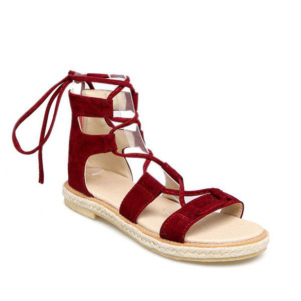 Suede Espadrilles Lace Up Sandals - DEEP RED 39