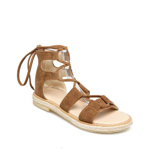 Suede Espadrilles Lace Up Sandals - BROWN 37
