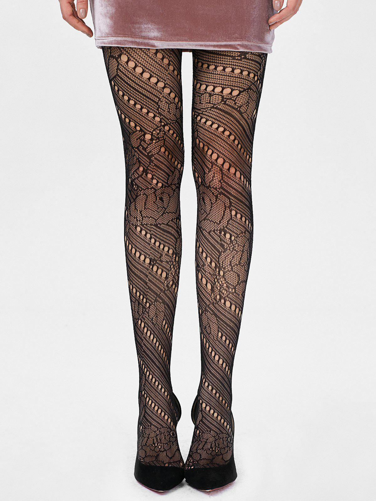 See Thru Elastic Hole Tights - BLACK ONE SIZE