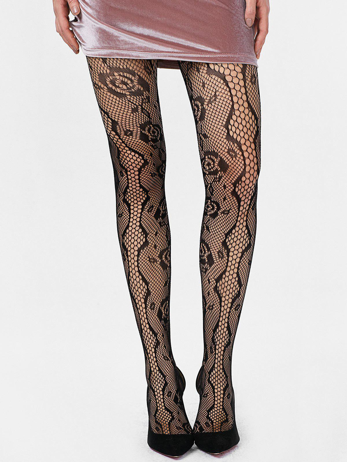 Rose Graphic Fishnet Trou Collants - Noir ONE SIZE