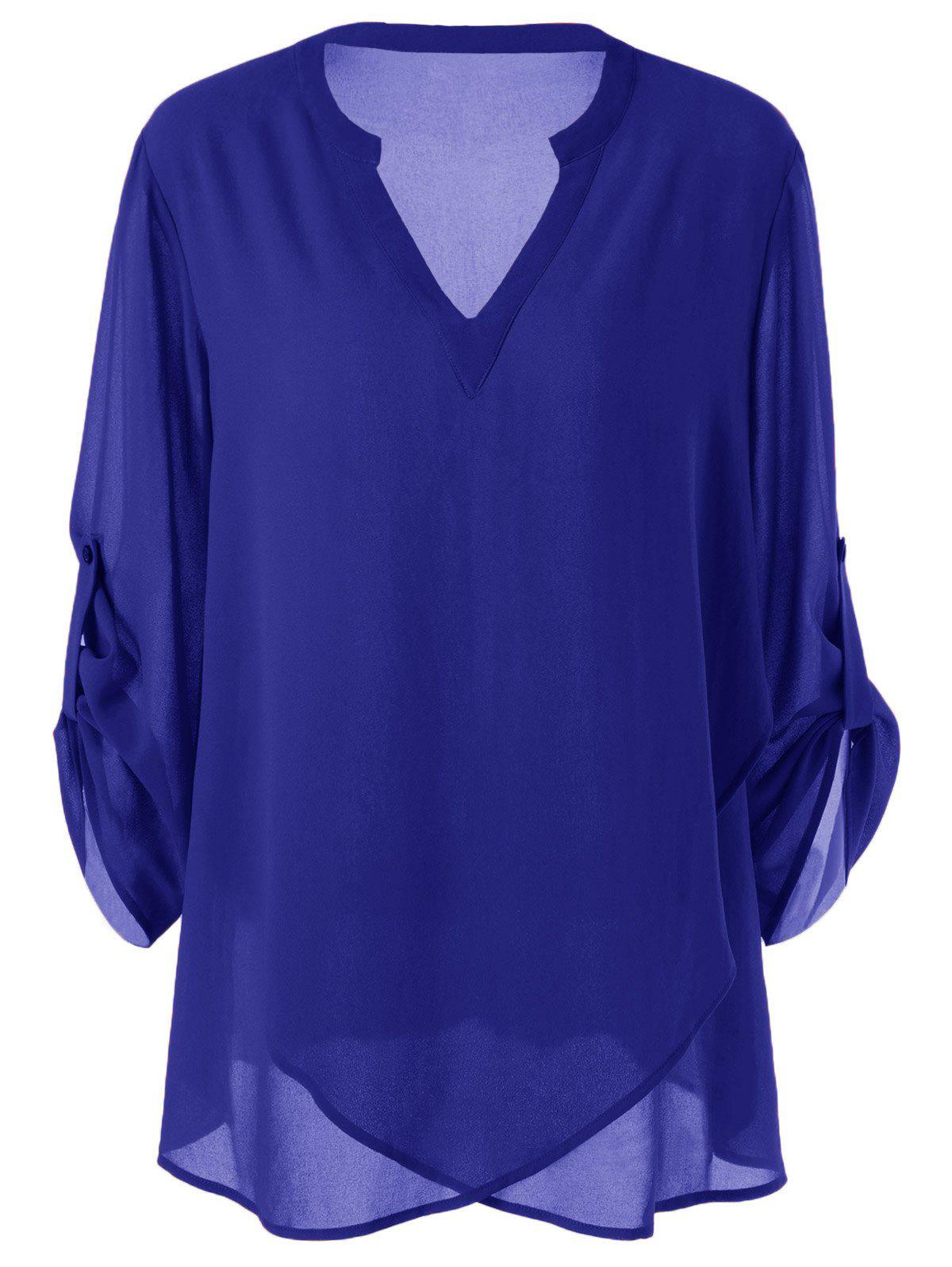 Plus Size Split-Neck Adjustable Sleeve Blouse - BLUE XL