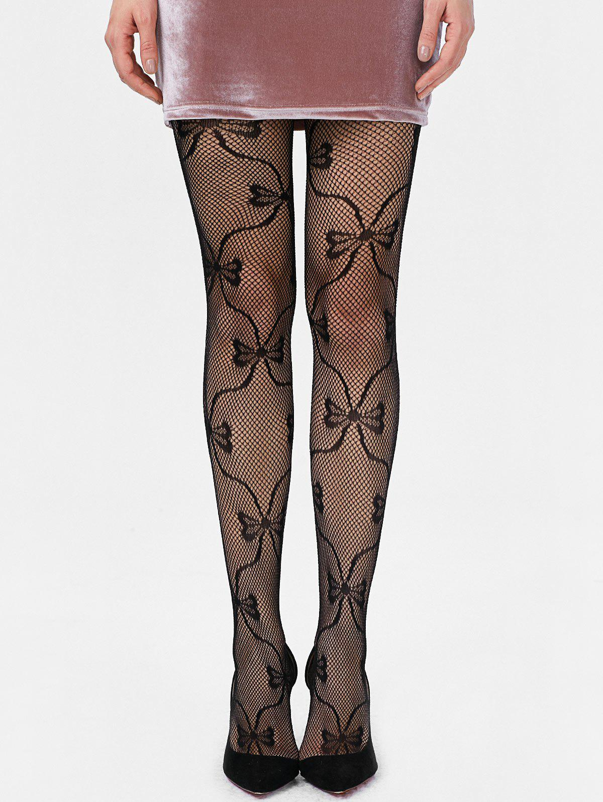 Bowknot Graphic Résille Collants - Noir ONE SIZE