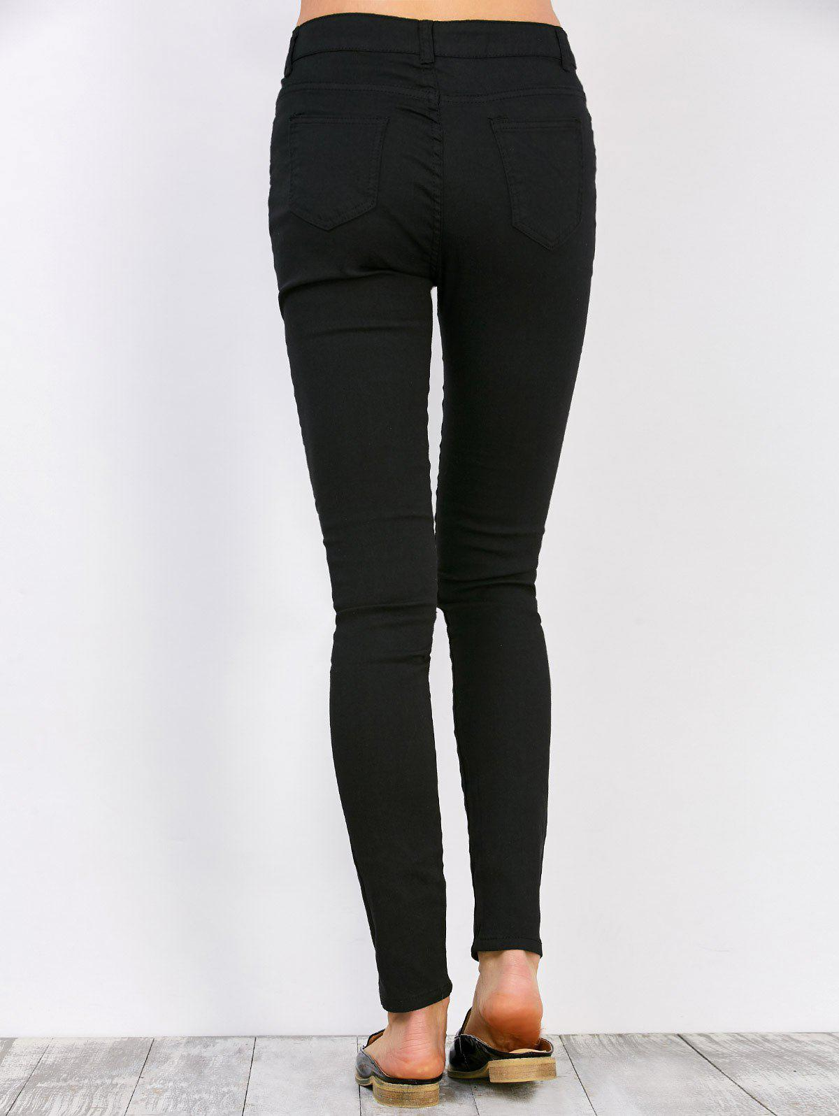 Distressed High Waisted Jeans - BLACK XL