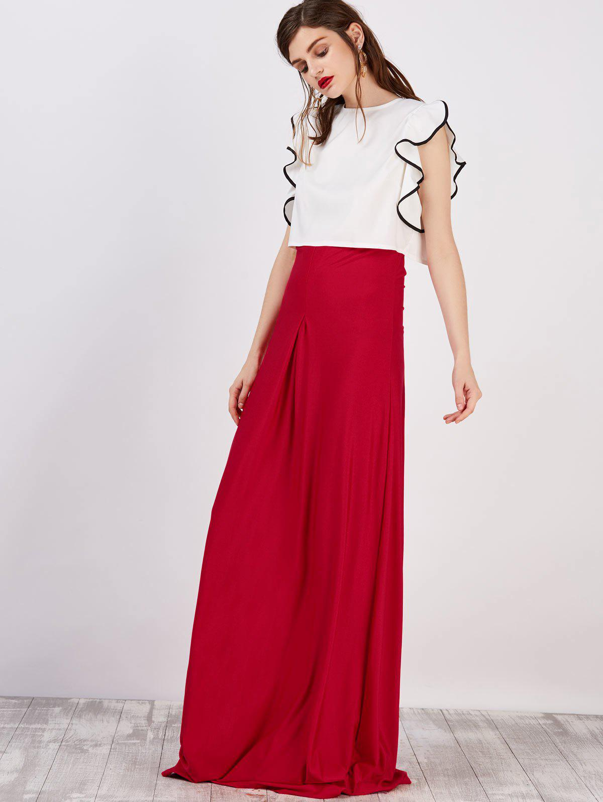 2018 Strapless Maxi Dress With Cape RED XL In Maxi Dresses ...