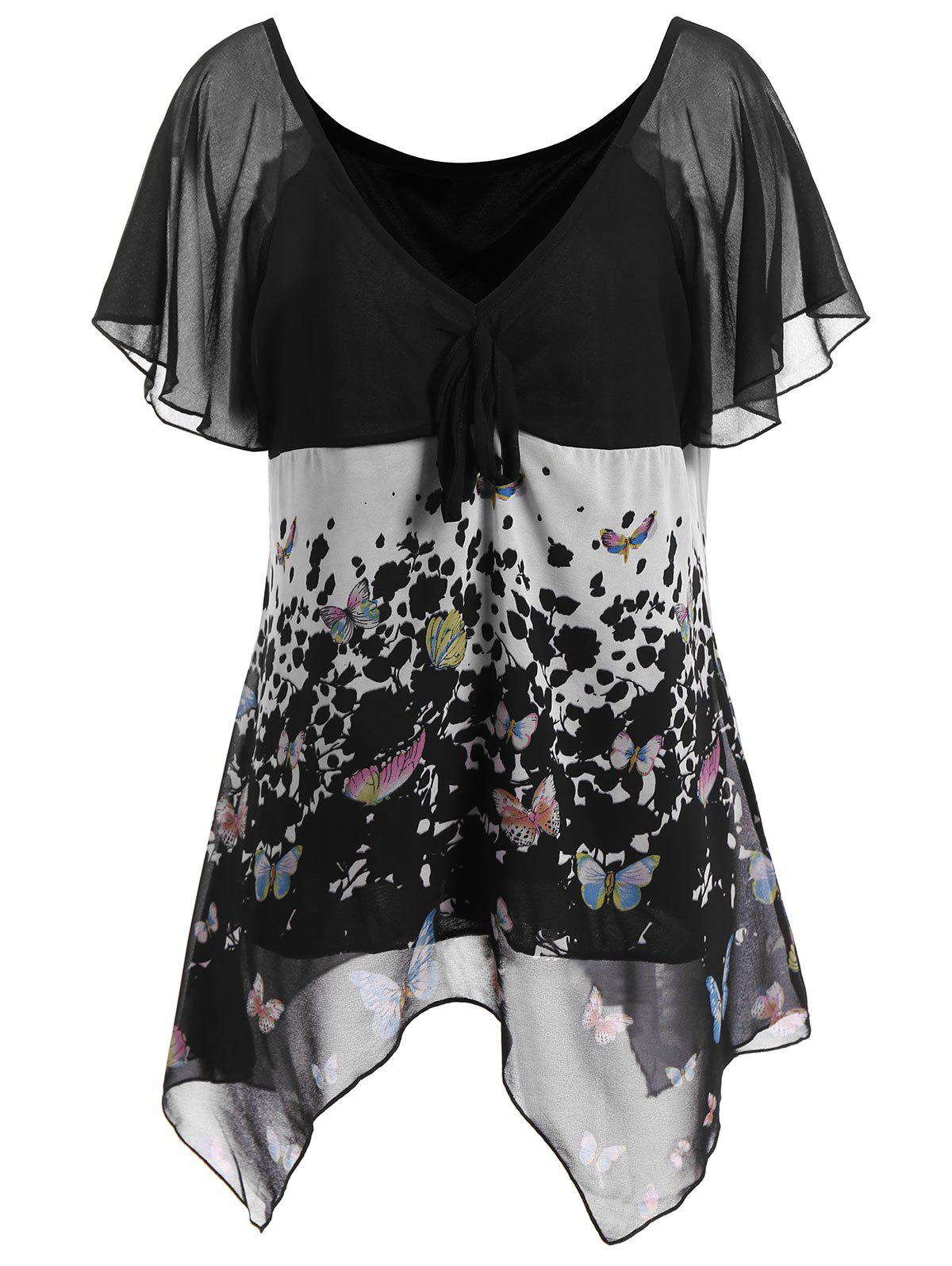 Butterfly Print Chiffon Plus Size Top - BLACK XL