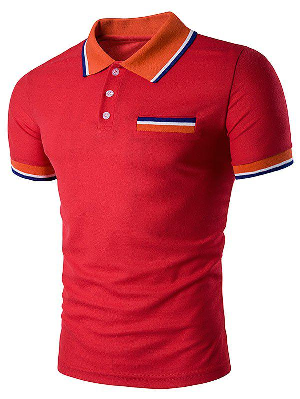 Striped Polo T-Shirt with Fake Pocket - RED XL