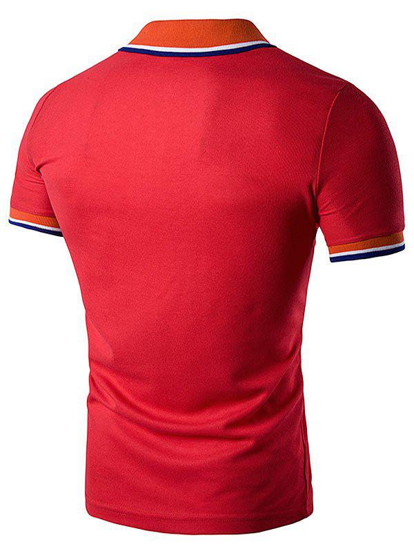 Striped Polo T-Shirt with Fake Pocket - RED L