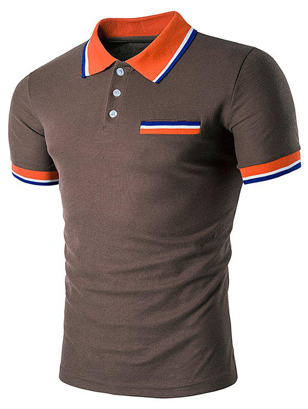 Striped Polo T-Shirt with Fake Pocket - COFFEE 2XL