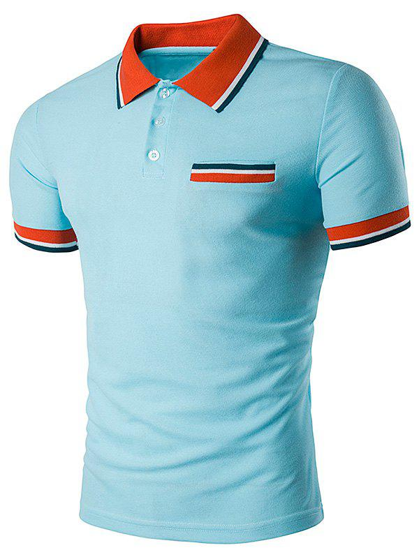 Striped Polo T-Shirt with Fake Pocket - LIGHT BLUE S